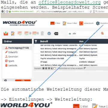 Dokumentation Mailweiterleitung an Vorstand, etc.